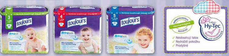Dětské pleny privátní značky Toujours
