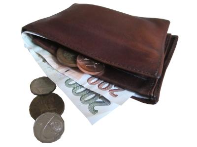 penezenka plná papírových českých bankovek