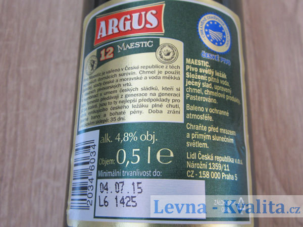etiketa se složením piva Argus Maestic