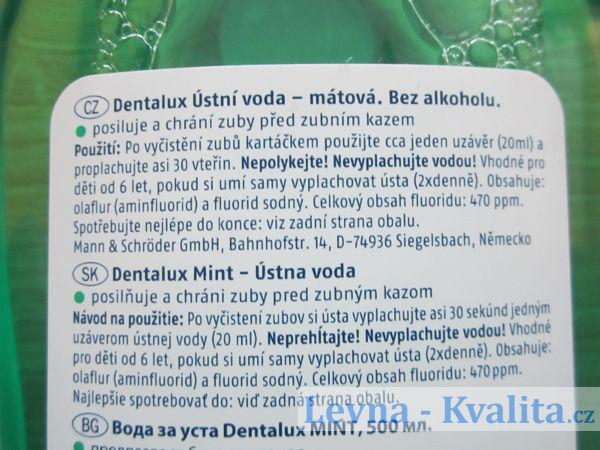 etiketa mátové ústní vody Dentalux Mint