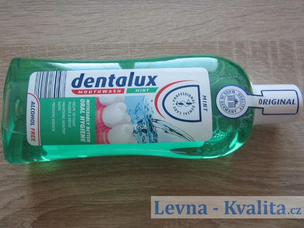pohled na obal ústní vody dentalux