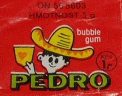 původní obal žvýkaček Pedro