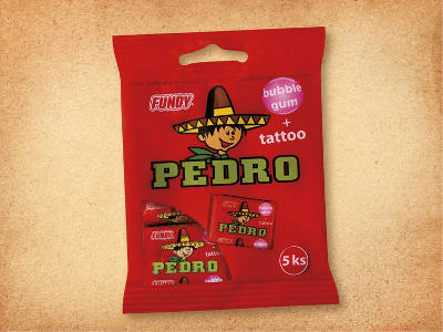 balení žvýkaček Pedro