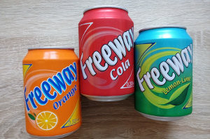 plechovky Freeway Cola, Freeway Orange, Freeway Lemon-Lime