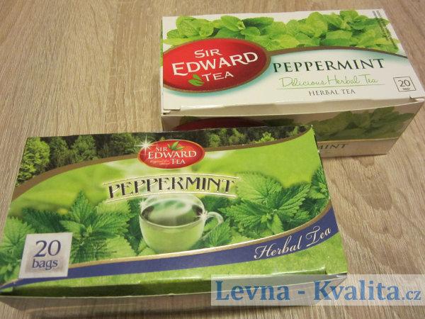 staré a nové balení mátového Sir Edward tea