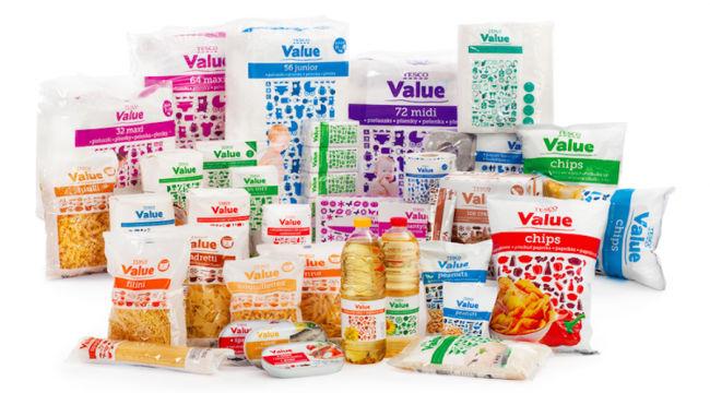 řada výrobků tesco value v nových obalech