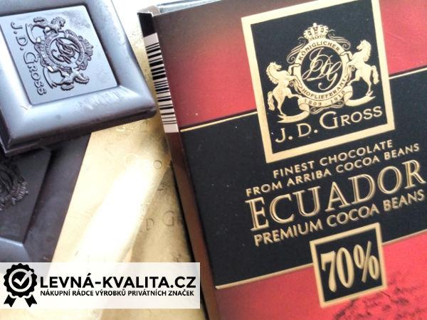 hořká čokoláda J. D. Gross z Lidlu obsahuje 70% kakaa