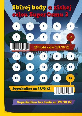kartička, na kterou se lepí billa body pro sbírání plyšáků SuperOsma 3