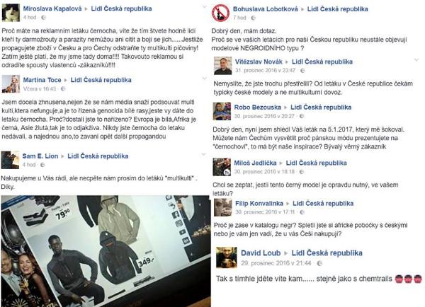 Negativní diskuze na facebooku k letáku Lidlu s černochem