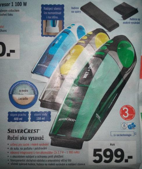 barevné typy, parametry a cena ručního vysavače SIlverCrest v letáku Lidl