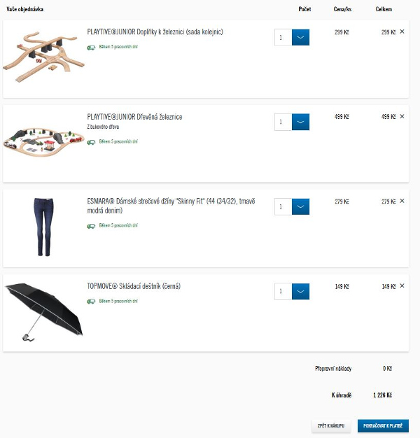 náhled zboží vloženého do košíku Lidl e-shopu