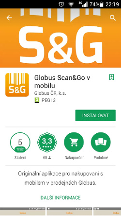 google play - screen shot instalace aplikace Scan&Go v mobilu pro android