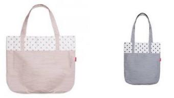 dvě plátěné tašky s proužkama
