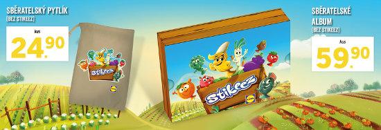 album a pytlík, do kterého lze ukládat Stikeez postavičky ovoce a zelenina