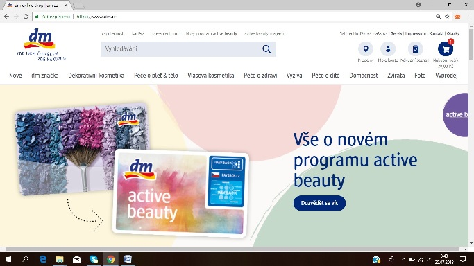 náhled na hlavní stránku e-shopu DM drogérie