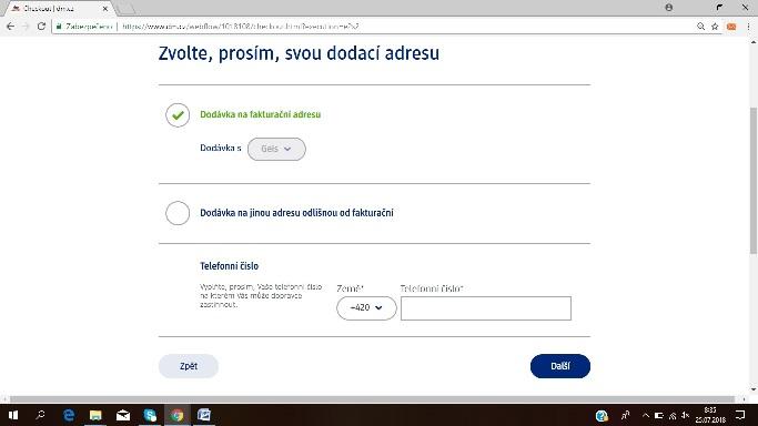 stránka s vyplněním adresy online nákup v DM drogérii