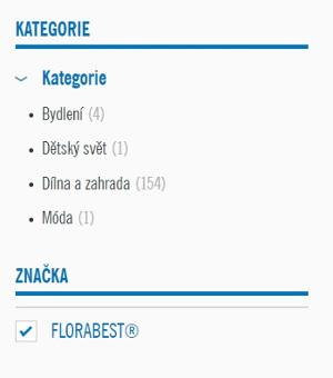 výpis kategorií značky florabest v Lidl eshopu