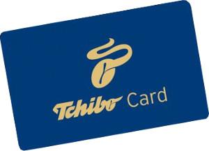 modrá Tchibo zákaznická karta se zlatým písmem