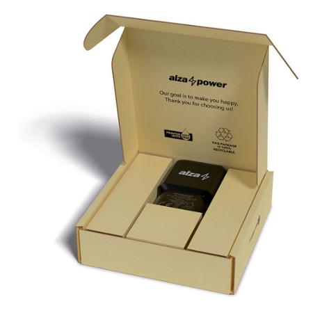 otevřená ekologická krabice, ve které je výrobek značky AlzaPower