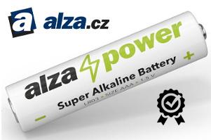 logo eshopu Alza a alkalická baterie s logem AlzaPower