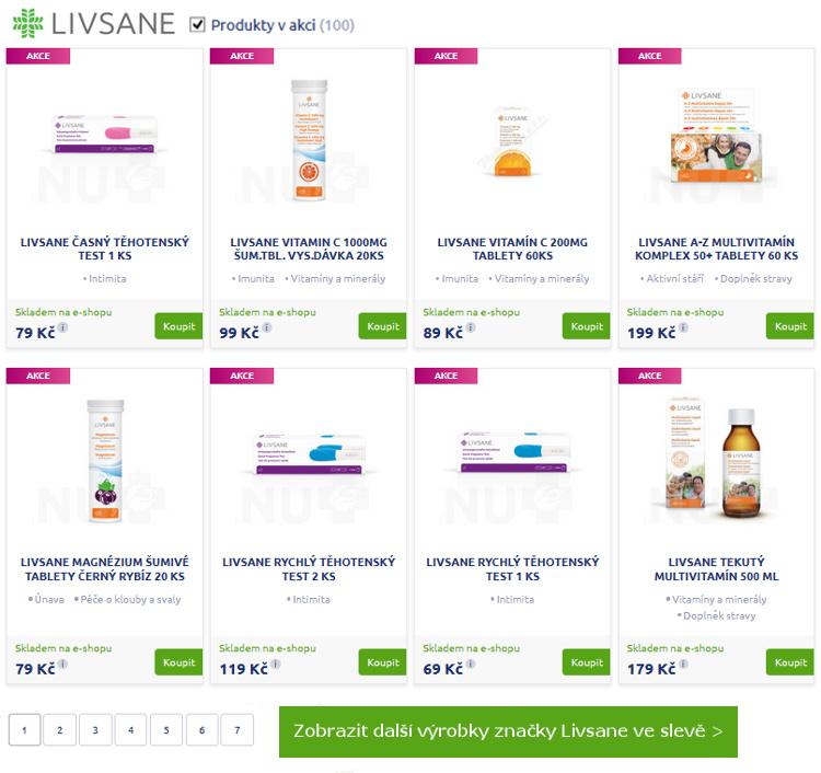 přehled výrobků v akci značka LIVSANE - eshop BENU lékárny