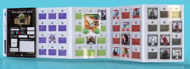 rozložené sběratelské album na kartičky Star Wars z Kauflandu