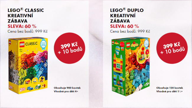 krabice stavebnice LEGO Classic a LEGo Duplo - získat jdou za nákupy v Albertu