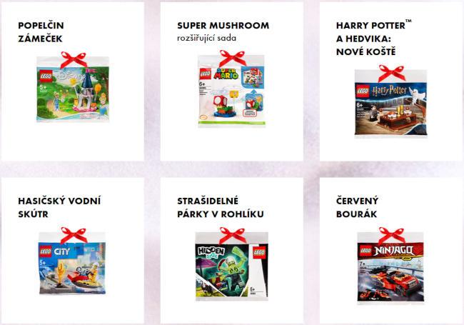 šest různých sáčků s ministavebnicemi LEGO - za nákupy v Albertu